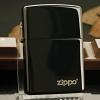 """ไฟแช็ค Zippo 24756ZL แท้ ดำสนิทผิวมัน """" Zippo Logo Black Ebony Finish """" แท้นำเข้า 100%"""