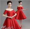 พร้อมส่ง ชุดราตรีสั้น ปาดไหล่ แขนสั้น ผ้าซาติน คอเว้า Sweet heart กระโปรงจับจีบ สวยหรู สีแดง (เชือกผูกหลัง)