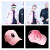 หมวกสีชมพู ลายหมีคุมะมง แบบ V