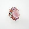 แหวนโรสควอตซ์ล้อมแฟนซี (Rose quartz with fancy stones silver ring)
