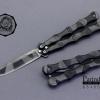 มีดบาลีซอง Balisong มีดปีกผีเสื้อ ดำลายพรางดำเทา ทรงรูปโซ่ ขนาด 8 1/4 นิ้ว BLA019