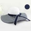 [พร้อมส่ง] H5439 หมวกสาน/หมวกไปทะเล หมวกปีกกว้าง ทูโทนขาวน้ำเงิน แต่งริบบิ้นโบ งานเก๋แบบเกาหลีค่ะ