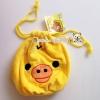 Rilakkuma Kiiroitori soft bag กระเป๋า ถุงผ้าหูรูด ปักหน้าคิอิริโทริ เนื้อนุ่ม