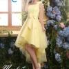 พร้อมเช่า ชุดราตรีสั้น ชุดเพื่อนเจ้าสาว หน้าสั้นหลังยาว สีเหลือง Yellow-001C ไหล่เดียวแต่งดอกและโบว์ กระโปรงตาข่าย