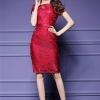 พร้อมส่ง ชุดเดรส/ชุดออกงาน ผ้าเกาหลี ผ้าโปร่งปักแขนสั้นลายดอกไม้ สีแดง (ซิปหลัง) *** เหลือเฉพาะไซส์ M , XL , 4XL ***