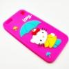 เคสซิลิโคนคิตตี้กางร่ม ไอโฟน 6/6s 4.7 นิ้ว-สีชมพูเข้ม