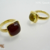 แหวนอาเกตสีแดงและแหวนเลม่อนควอตซ์ (Red Agate & Lemonquartz Silver Ring)