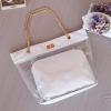 กระเป๋าพลาสติกใส ไซส์ใหญ่ แต่งสายสะพายโซ่ แต่งเย็บตารางเก๋ๆ พร้อมใบเล็กด้านใน