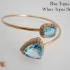 กำไลข้อมือบลูโทปาซล้อมไวท์โทปาซ (Blue Topaz With White Topaz Bracelet) สั่งทำได้ค่ะ