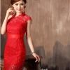 พร้อมเช่า ชุดราตรีสั้น สีแดง ไหล่เฉียง แต่งลูกไม้ทั้งชุดเข้ารูป ผ้าคาดเอวซาติน