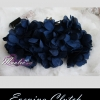 พร้อมส่ง Evening Clutch กระเป๋าออกงาน ทรงดอกไม้สามมิติ สีน้ำเงิน ประดับคริสตัลคู่ปากกระเป๋า มาพร้อมสายสะพายสั้น/ยาว
