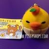 ตุ๊กตาไก่โทริส้มแมนดารินแช่ออนเซ็น Kiiroitori orange mandarin of rilakkuma onsen ไซส์พวงกุญแจ