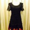 พร้อมส่ง ชุดออกงาน ชุดเดรสลูกไม้ Mini dress แขนสั้น กระโปรงผ้าแก้วปักลายหวาน ลูกไม้สีดำ (เหลือเฉพาะไซส์ XL)