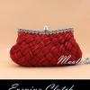Evening Clutch กระเป๋าออกงาน สีแดงเข้ม อัดพลีทลายสาน ประดับคริสตัลปากกระเป๋า พร้อมสายโซ่สั้น/ยาว