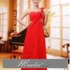 พร้อมเช่า ชุดราตรียาว ไหล่เดียว แบบสวย สีแดง ช่วยพรางหน้าท้อง ปักเลื่อมช่วงรอบคอเสื้อและเอว