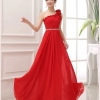 Pre-order ชุดราตรียาว ไหล่เดียว ผ้าชีฟองคาดเพชรที่เอว แต่งดอกสวย สีแดง