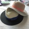 [พร้อมส่ง] H7275 หมวกสานปานามา แบบสลับสี แต่งผ้าคาด ติดอักษร MM สีทอง