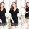 Crazy in Lace Dress ชุดเดรสลูกไม้คอวีสีดำ
