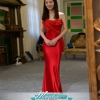พร้อมส่ง ชุดเจ้าสาว/เพื่อนเจ้าสาว ราตรียาว แบบเกาะอก ทรงหางปลา สีแดง เรียบหรู แต่งผ้าแก้วช่วงอก กระโปรงผ้าซาติน ชายยาว