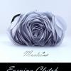 พร้อมส่ง Evening Clutch กระเป๋าออกงาน รูปดอกกุหลาบ เนื้อซาตินสวย พร้อมสายโซ่ สั้น-ยาว สีเทาเงิน