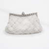 Evening Clutch กระเป๋าออกงาน สีขาว อัดพลีทลายสาน ประดับคริสตัลปากกระเป๋า พร้อมสายโซ่สั้น/ยาว