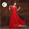 พร้อมเช่า ชุดราตรียาว ชุดเพื่อนเจ้าสาว สีแดง แบบ C แขนยาว ผ้าตาข่ายแต่งลูกไม้โปร่ง เอวเพิ่มดอกสวย (เชือกผูกด้านหลัง)