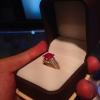 แหวนทองทับทิมประดับด้วยไวท์ซัฟไฟร์ (Ruby with white sapphire gold ring)