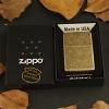 """ไฟแช็ค Zippo แท้ ผิวลายทองเหลืองโบราณ """"Zippo 201FB Antique Brass Finish"""" แท้นำเข้า 100%"""