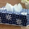 ชุดปักแผ่นเฟรมกล่องทิชชูทรงยาวลายดอกไม้สีน้ำเงิน
