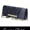 พร้อมส่ง Evening Clutch กระเป๋าออกงาน สีดำ ผ้าซาตินอัดพลีตฝากระเป๋า