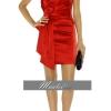 พร้อมส่ง ชุดราตรีสั้น แขนกุด Designer dress ผ้าซาติน สีแดง คอวี จับเดรปด้านหน้า