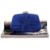 พร้อมส่ง Evening Clutch กระเป๋าออกงาน สีน้ำเงิน แบบอัดพลีทจับจีบผาซาติน คริสตัลสวยหรู ทรงกระทัดรัด มาพร้อมสายสะพายสั้น/ยาว