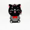เคสซิลิโคน 3Dแมวดำใส่เสื้อขวาง Vivo V3