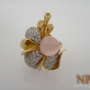 แหวนโรสควอตซ์ (Silver ring flower rose quartz)