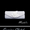 Sale พร้อมส่ง Evening Clutch กระเป๋าออกงาน สีขาวมุก ผ้าซาติน ฝาอัดพลีต แต่งดอกกุหลาบ