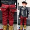 กางเกงขายาวสีน้ำตาลแดงแต่งซิบด้านหลัง