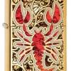 """ไฟแช็ค Zippo แท้ แมลงป่อง สีทองอร่าม """" Zippo 29096 Scorpion-Fusion, High Polish Brass """" แท้นำเข้า 100%"""