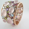 กำไลข้อมือโรสควอตซ์หลังเบี้ย (Rose Quartz Silver Bracelet with Fancy Gems)