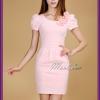 Sale ชุดราตรีสั้น แขนสั้น สีชมพู แต่งดอกไม้ช่วงคอ (เหลือเฉพาะ M , L )