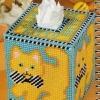 ชุดปักแผ่นเฟรมกล่องทิชชูลายแมวผูกโบว์