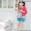 Pink ideal กางเกงขาสั้นแต่งกระดุมสีน้ำเงิน [size: 3y-5y-7y]