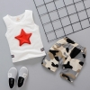 ชุดเซตเสื้อกล้ามสีขาวลายดาว+กางเกงลายพราง แพ็ค 2 ชุด [size 1y-2y]