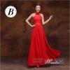 พร้อมเช่า ชุดราตรียาว ชุดเพื่อนเจ้าสาว สีแดง แบบ B คล้องคอ อกแต่งผ้าตาข่ายลายลูกไม้ (เชือกผูกด้านหลัง)
