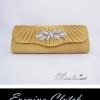 พร้อมส่ง Evening Clutch กระเป๋าออกงาน สีเหลืองทอง ฝาหยัก จับจีบแต่งคริสตัลรูปใบไม้