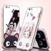 เคส iPhone 7 (4.7 นิ้ว) ซิลิโคน soft case สีชมพู/สีดำ สกรีนลายการ์ตูนน่ารักมากๆ พร้อมที่ห้อยเข้าชุด ราคาถูก