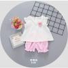 ชุดเซตเสื้อขาวกางเกงชมพูแต่งดอกไม้ที่อก แพ็ค 2 ชุด [size 6m-1y]