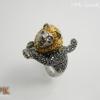 แหวนสิงโตพลอยไพลิน (Blue Sapphire Silver Ring)