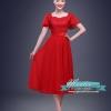 พร้อมเช่า สำหรับสาวไซส์ใหญ่ ชุดราตรี สีแดง แขนสั้น ลูกไม้ฉลุ กระโปรงผ้าชีฟอง 2XL- 6XL (เชือกผูกหลัง)