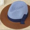 [พร้อมส่ง] H7313 หมวกปานามา สลับสีน้ำตาลและฟ้าน้ำเงิน ตกแต่งด้วยริบบิ้นผ้าคาด