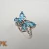 แหวนเงินผีเสื้อบลูโทปาส(Silver ring butterfly blue topz)